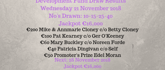 Community Fund Draw Results 21.11.18